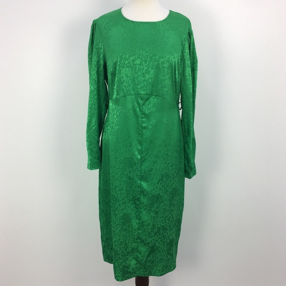 ASOS Green Leopard Print Long Sleeve A-line Dress